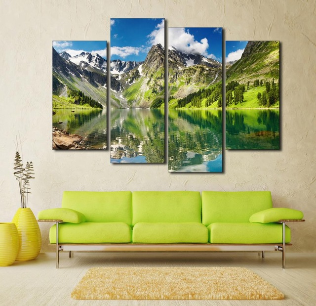 Aliexpress.com : Buy 4 panel Blue Sky Mountain With Lake Large HD.
