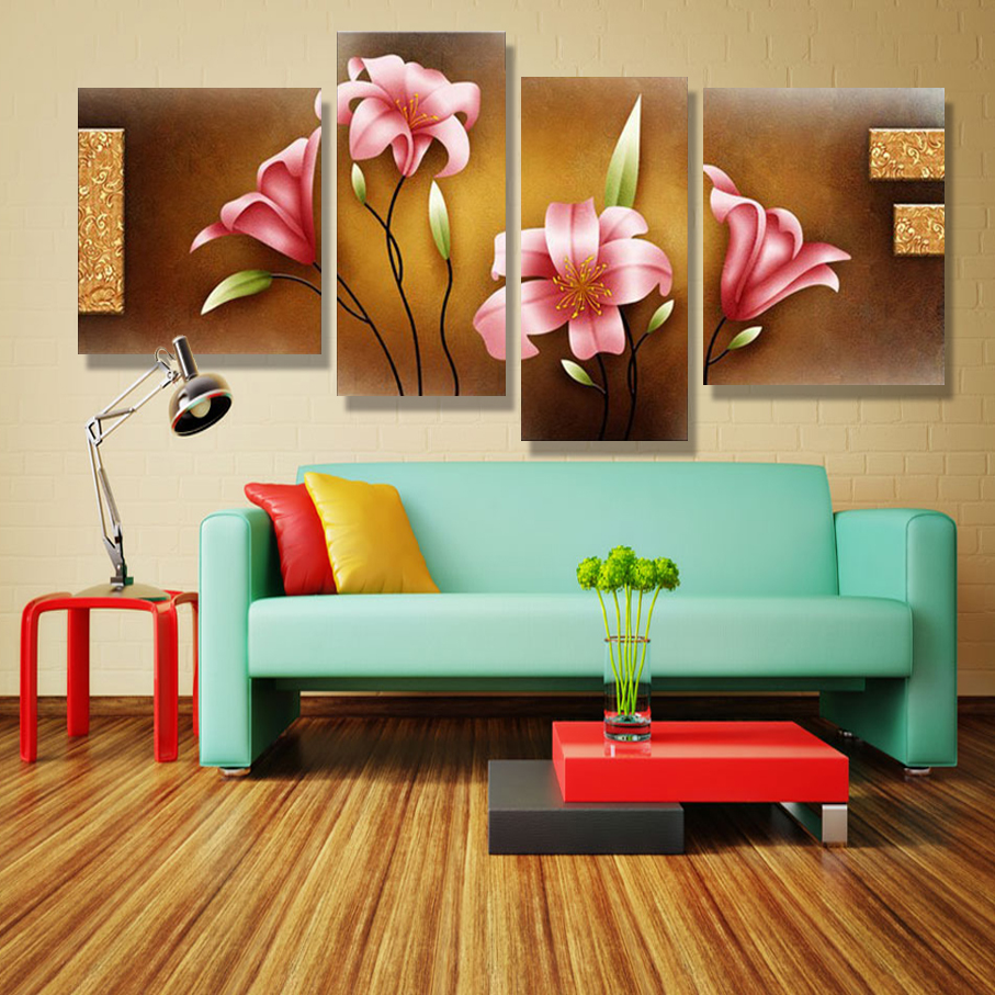 Vintage Picture Panel Modern Art Orchid Painting Flowers Painting Canvas  Wall Picture Home Pop Modern Modular Pictures Poster