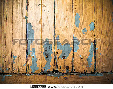 Stock Photograph of Old grunge wood panel painted orange k8552299.