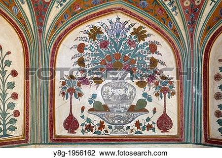 Stock Photo of Painting ornate panel wall detail in Amber Fort.