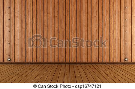 Clip Art of Vintage room with wooden wall paneling and electric.