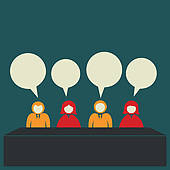 Panel discussion clipart.