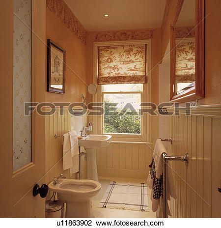 Stock Photo of Floral blind on sash window in narrow half.