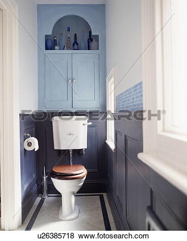 Pictures of Toilet with mahogany seat in small blue panelled.