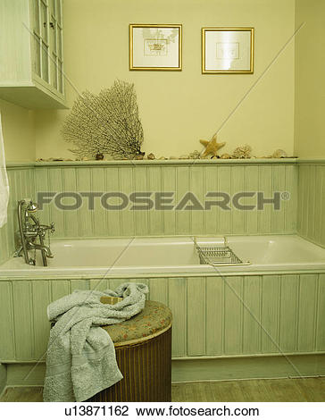 Stock Photo of Bath in pastel green tongue+groove panelled.