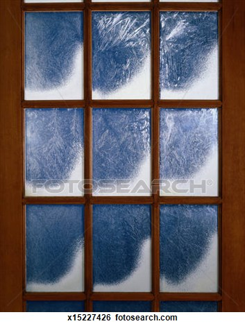 Snowy Window Panes Clipart.