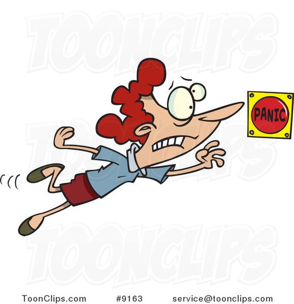 Cartoon Lady Pushing a Panic Button #9163 by Ron Leishman.