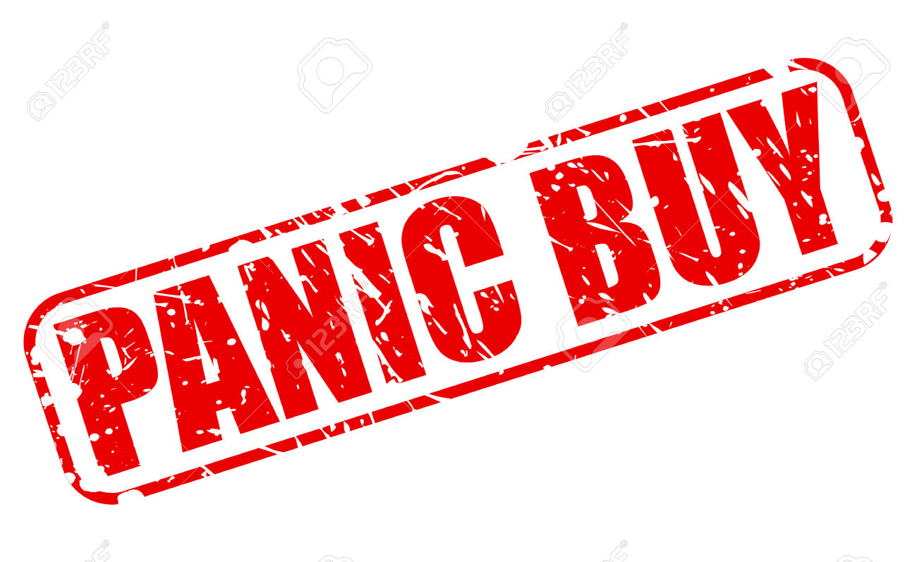 Panic Buy Red Stamp Text On White Stock Photo, Picture And Royalty.
