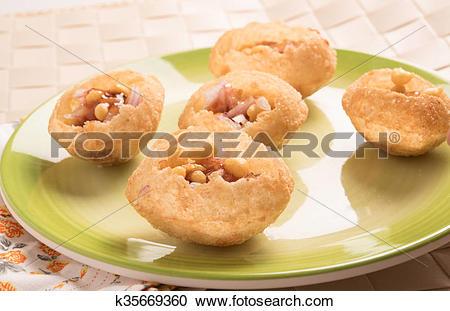 Stock Photography of Pani Puri or panipuri, Golgappe or gol gappe.
