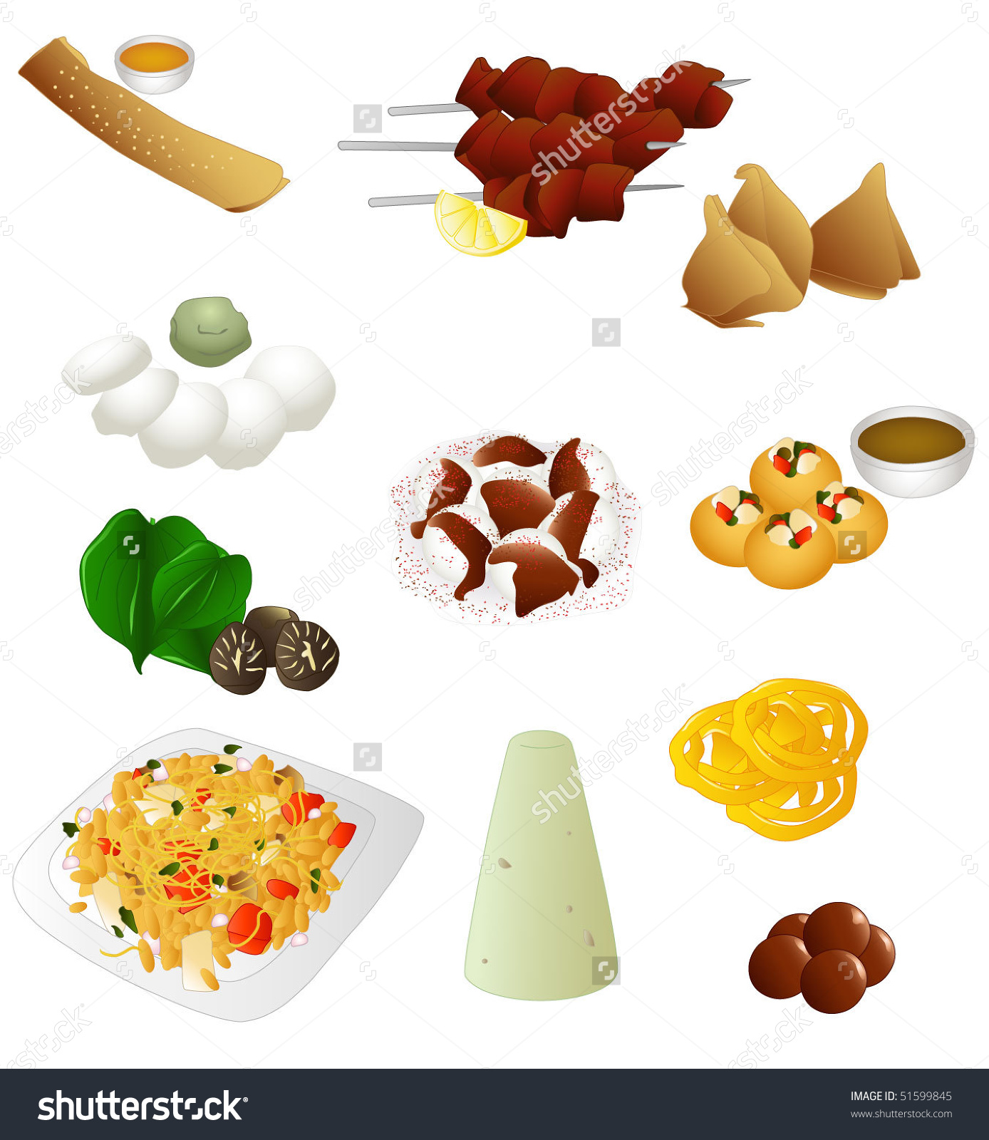 Indian Food Pack Street Food Stock Vector 51599845.