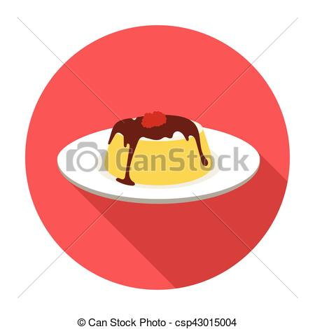 Vector Clipart of Panna cotta icon in flat style isolated on white.