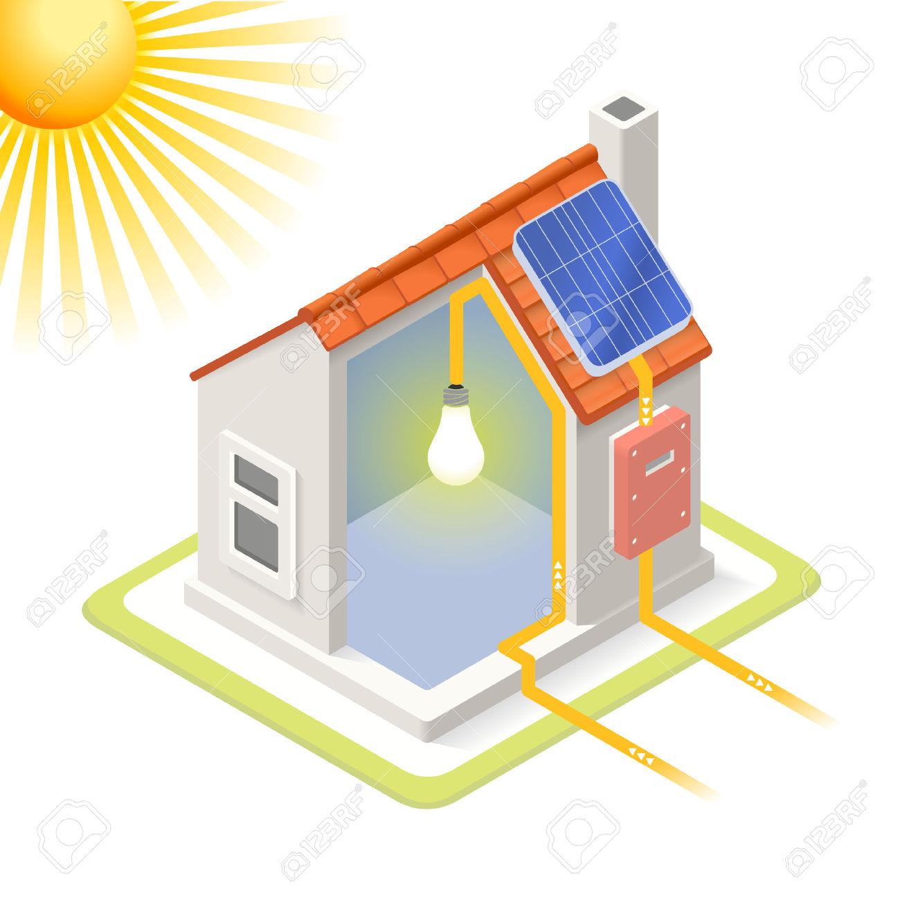 Clean Energy Casa Pannelli Solari Infografica Icon Concept.