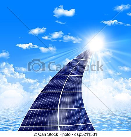 Clipart di pannelli, strada, solare.