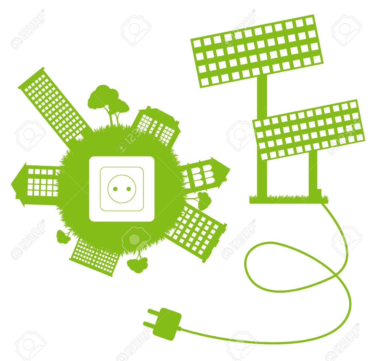 Verde Ecologia Energia Vettore Concetto Pianeta Con Presa, Spina E.
