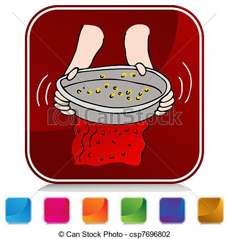 Vector Illustration of Panning for Gold Button Set.