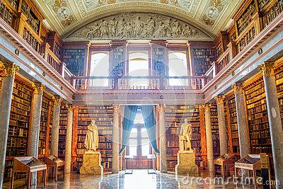 Interior Of Pannonhalma Library, Pannonhalma, Hungary Stock Photo.