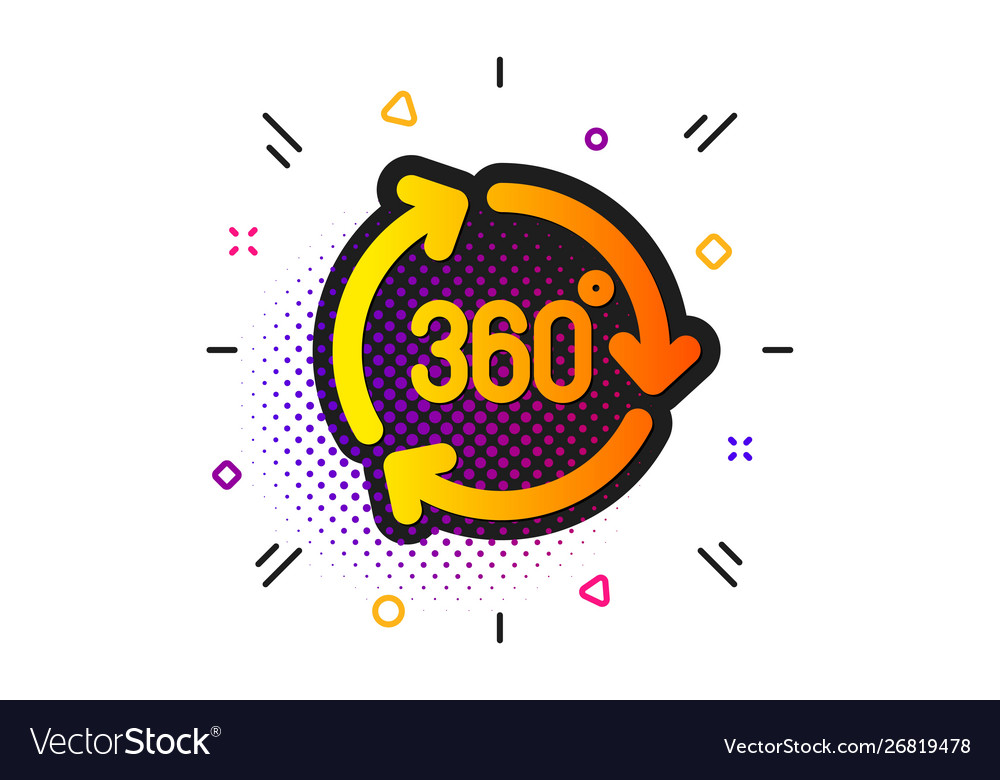 360 degree icon vr technology simulation sign.