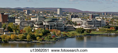 Stock Photography of Panorama of Quebec side of Ottawa River with.