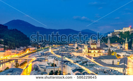 Beautiful View Historic City Salzburg Festung Stock Photo.