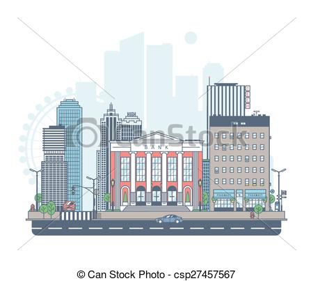 Clip Art Vector of Panorama of the city. Bank on the background of.