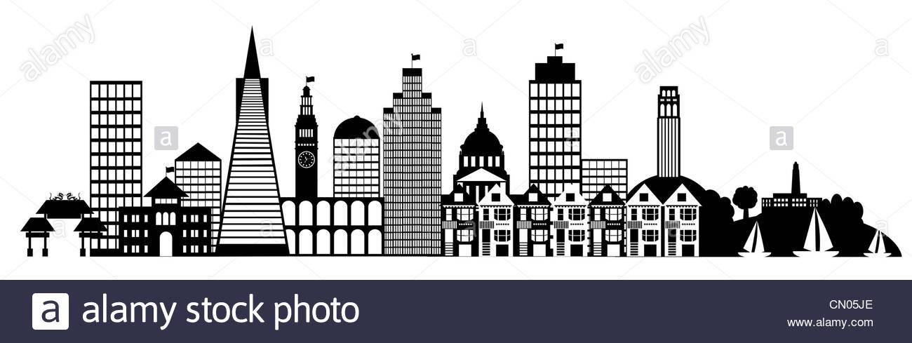 San Francisco City Skyline Panorama Black And White Silhouette.