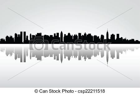 Vector Clip Art of New York City panorama, vector csp22211518.