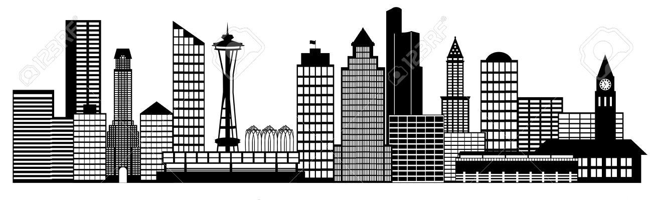 Seattle City Washington Skyline Panorama Black And White.