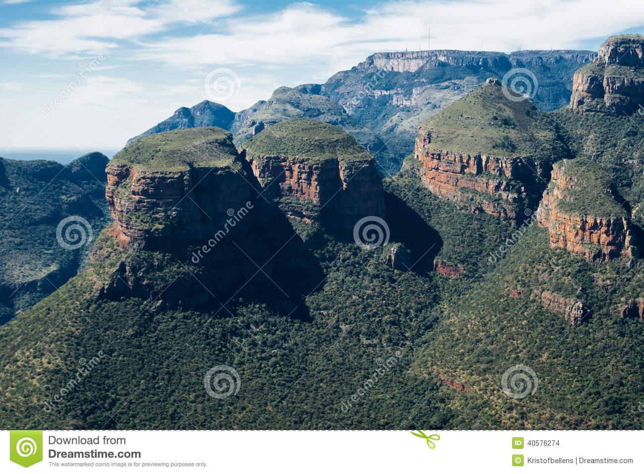Three Rondavels At Blyde River Canyon Stock Photo.