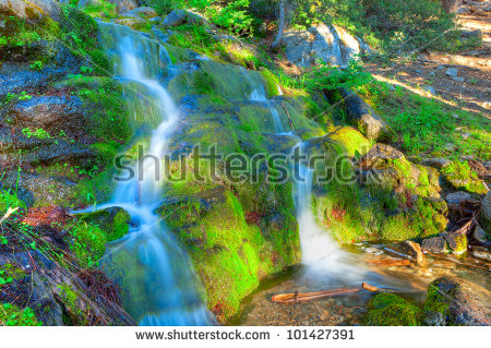 Cascade On Panorama Trail In Yosemite National Park. Stock Photo.