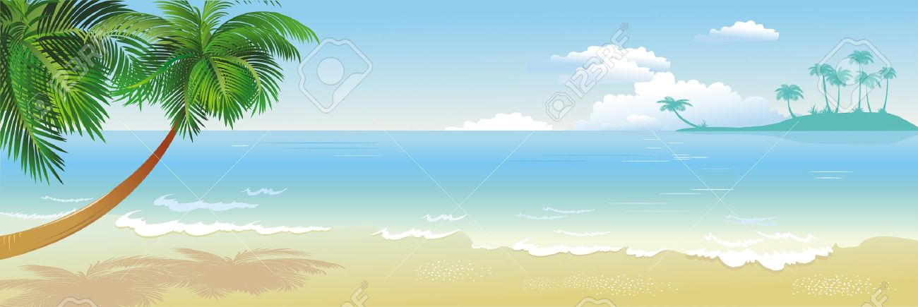 Panoramic Tropical Beach With Palm Royalty Free Cliparts, Vectors.