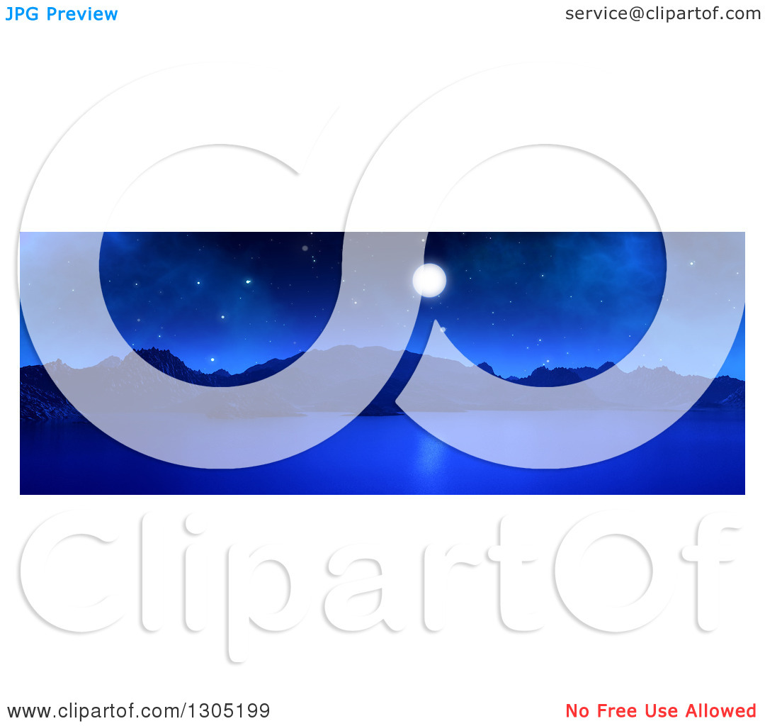Clipart of a 3d Panoramic Landscape of a Full Moon over a Lake or.