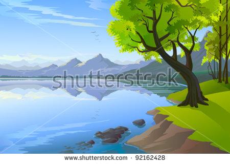 Panoramic Lake Clip Art.