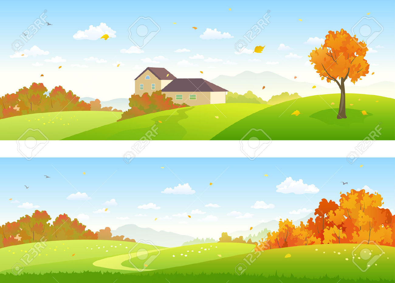 Vector Illustration Of Beautiful Autumn Panoramic Landscapes.
