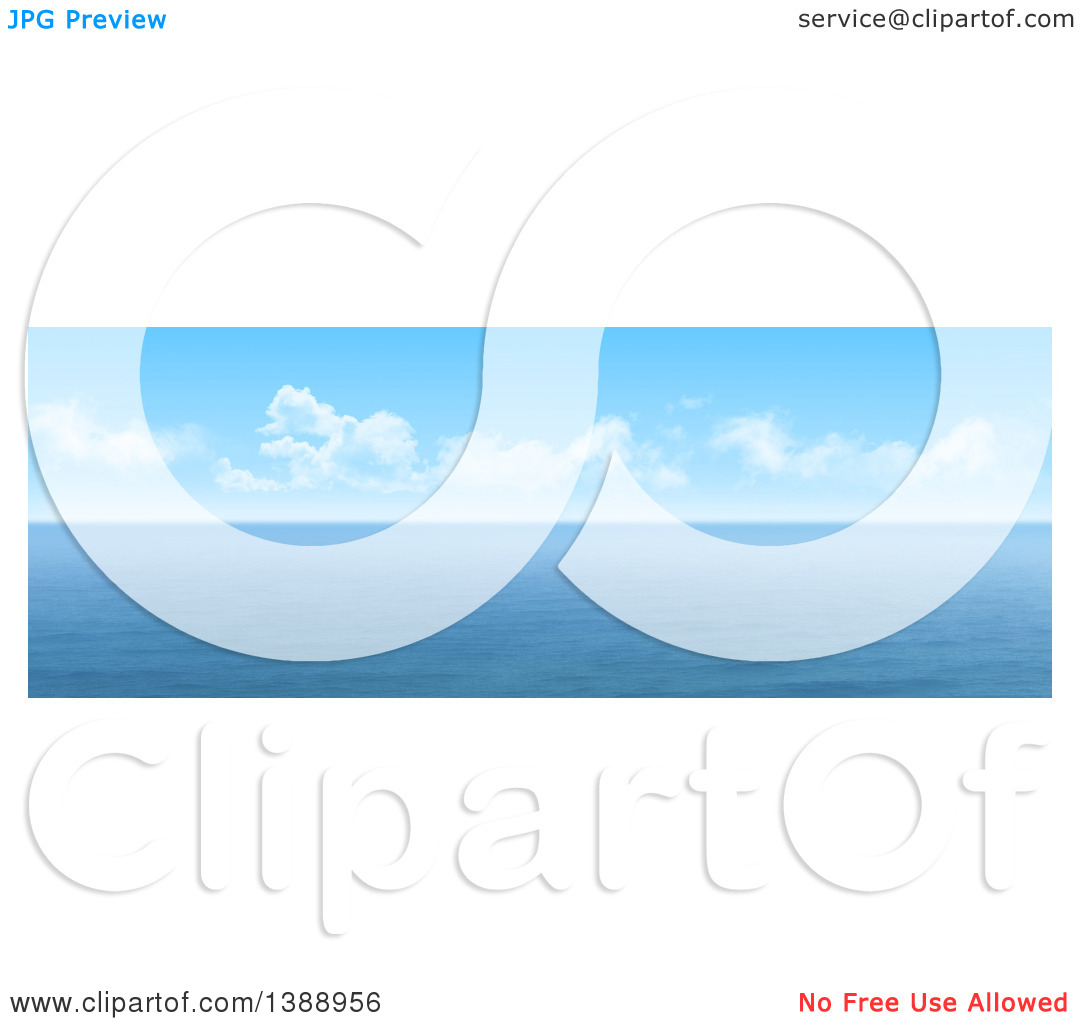 Clipart of a Widescreen 3d Panoramic View of the Ocean Under Blue.