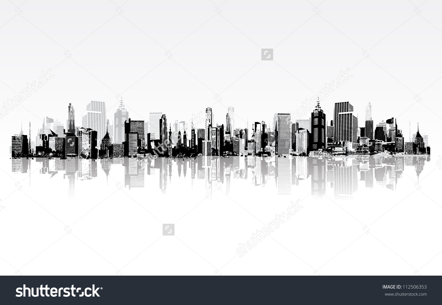 Illustration Architectural Building Panoramic View Stock Vector.