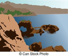 Vector Illustration of Panoramic view of a snow capped landscape.