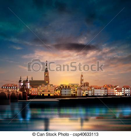 Vector Clip Art of Panoramic view of medieval town in Germany.