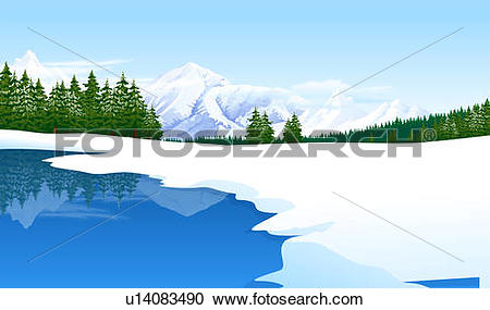 Stock Illustrations of Panoramic view of a snowcapped landscape.