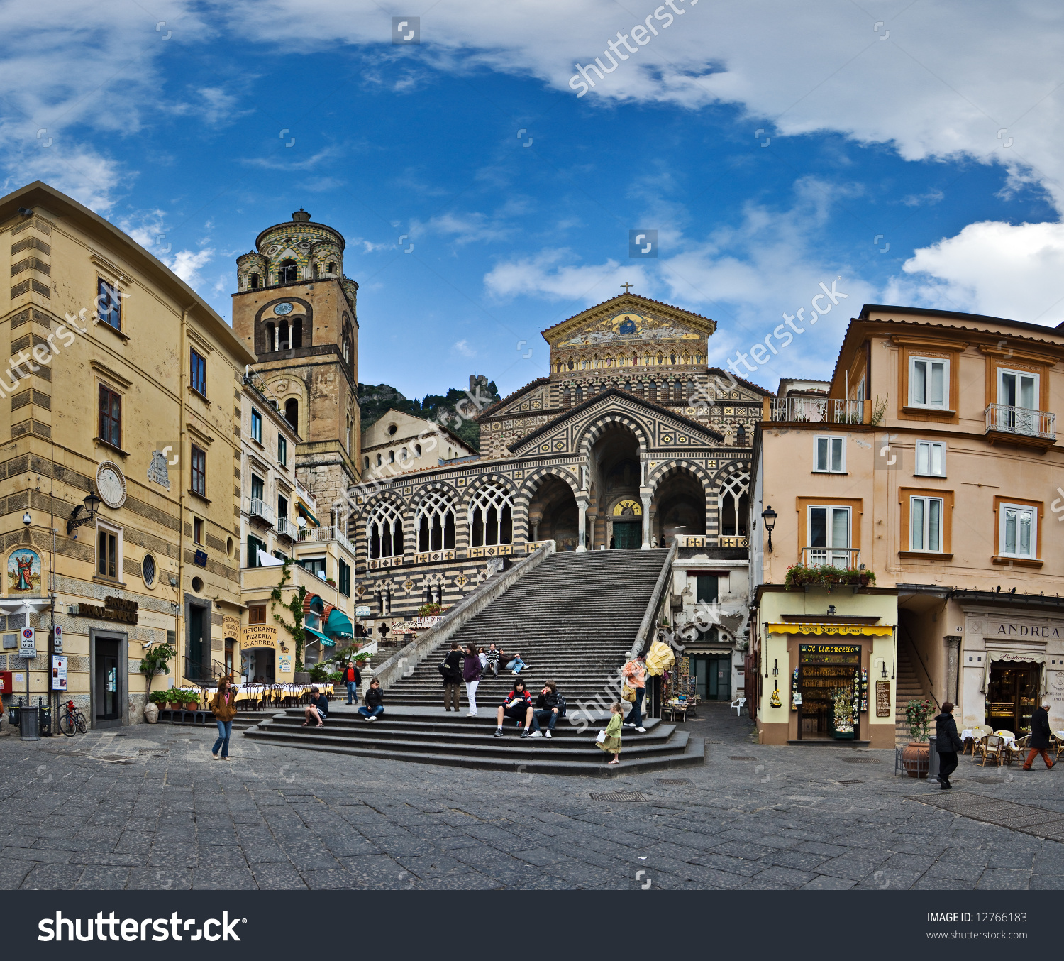 Panoramic View Of St Andrew Cathedral, Amalfi, Italy Stock Photo.