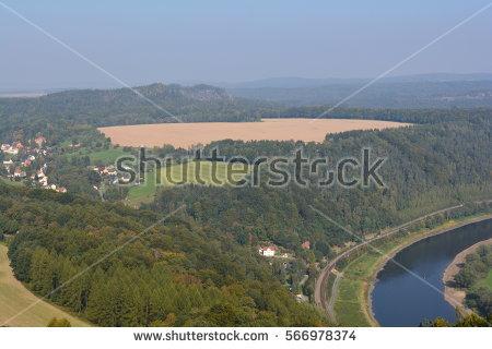 Elbe Saxon Switzerland River View Stock Photos, Royalty.