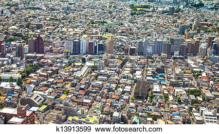Stock Photograph of Tokyo, city aerial panoramic view. Street and.