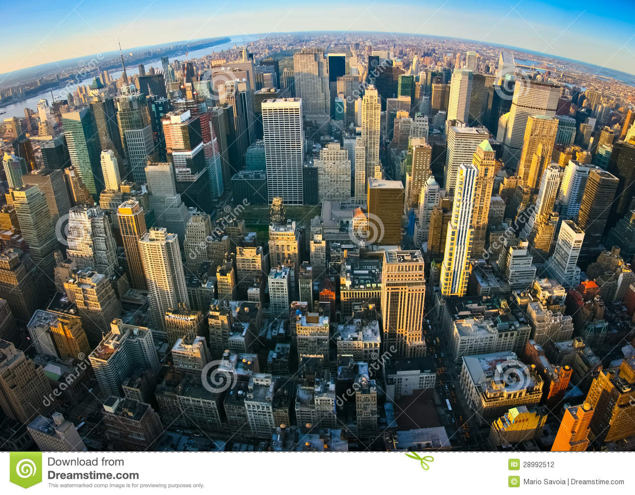 Fisheye Aerial Panoramic View Over New York Stock Photography.