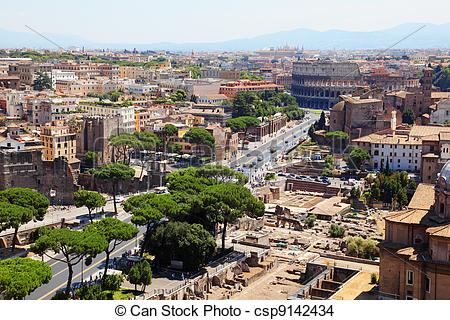 Stock Photo of Color panoramic view Rome, Colosseum, catholic.