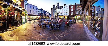 Stock Photo of England, Kent, Canterbury. A panoramic view of.