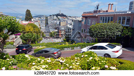 Stock Photography of Panoramic view of Lombard Street switchback.