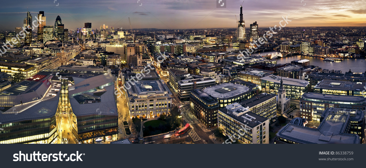 London Twilight Panoramic View St Pauls Stock Photo 86338759.