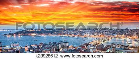 Clip Art of Wonderful panoramic view of Istanbul at dusk across.