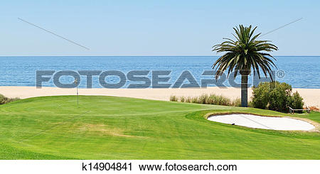 Stock Photography of Panoramic views of the golf course to the sea.
