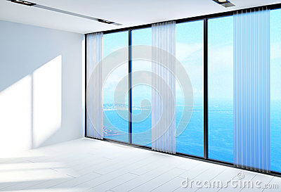 Large Airy Empty Room Overlooking Sea Stock Illustrations.
