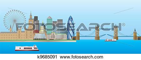Clipart of London Skyline Panorama Illustration k9685091.